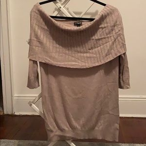 express off shoulder light brown sweater